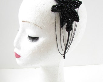 Black Chain Fascinator Headband Races Ascot Headpiece 1920s Flapper Goth Vtg A78
