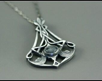 Art nouveau pendant with stone, pewter art nouveau pendant, celtic pewter necklace, obsidienne stone, art nouveau style, symbolic jewelry