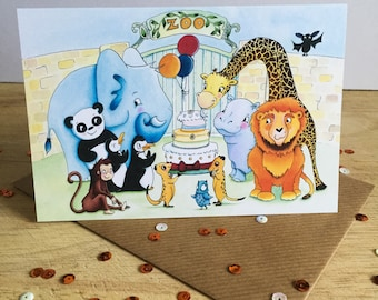 Zoo Party - greeting card for birthdays and celebrations