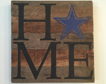 Football HOME Sign // Dallas Cowboys // Custom // Gifts for Her // Gifts for Him // Wedding // Pallet // Footbal // Team // Logo