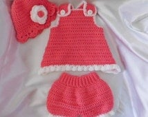 Crochet baby summer top and bottom suit with hat 3 to 6 months, crochet hat, bloomers