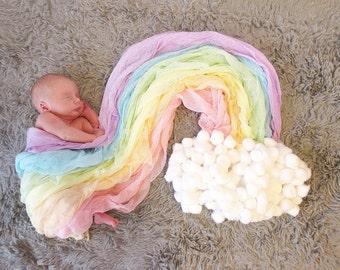 Pastel Rainbow Newborn Cheesecloth Wraps, Set of 6 Baby Wraps, Maternity Cheesecloth Wraps