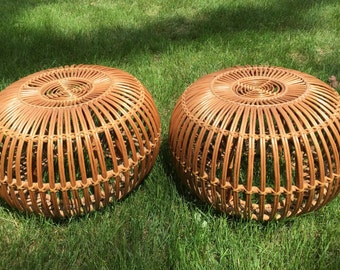 Vintage Franco Albini Style Side Table Pouf Ottoman / PAIR / PICK UP only