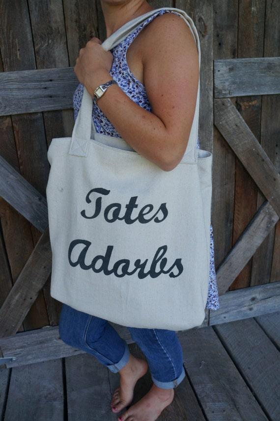 "Large ""Totes Adorbs"" Canvas Tote/Handbag"