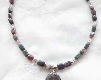 Gemstone Necklace, Mixed Gemstone Large Focal Necklace, Beaded Necklace, Autumn Necklace, Fall Jewelry