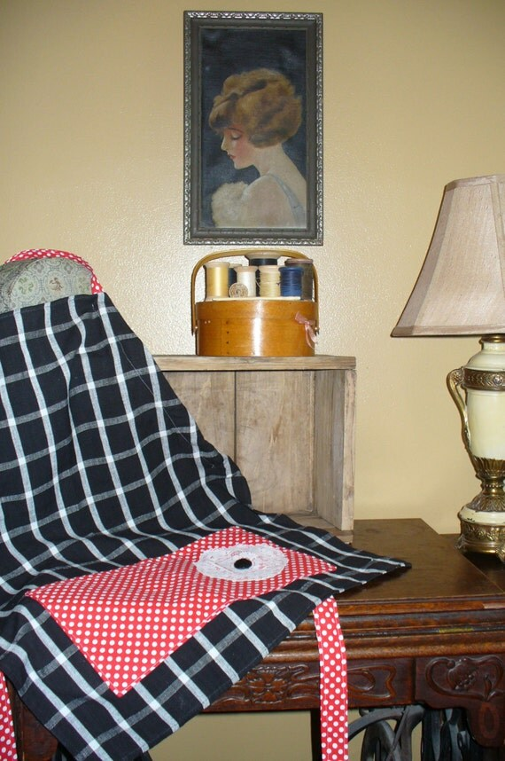 Vintage Tea Towel Full Apron, Vintage Doily Apron, Black and White Apron, Red and White Polka Dot Apron, Full Apron with Pockets, Marjorie