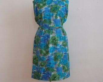 Vintage 1960's Green and Blue Wiggle / Sheath Dress