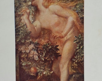 90 year old book plate/ Eve Tempted/ artist G.F.Watts