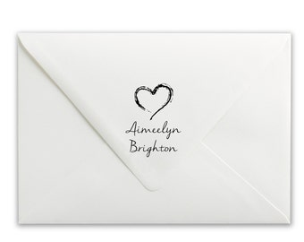 Personalized Stamp - Custom Self-Inking Stamp - Wedding Stamp - Save the Date Stamp - Hearts Name Stamp
