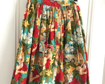 REDUCED Pin Up Retro Rocksbilly High Waist Full Gathered Skirt. Vintage Summer Novelty Print. Size 12