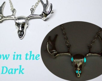 fathers day gift/for/him deer necklace blue jewelry gift/for/boyfriend glow in the dark unique gift/for/grandpa hunter gift son Ся22a