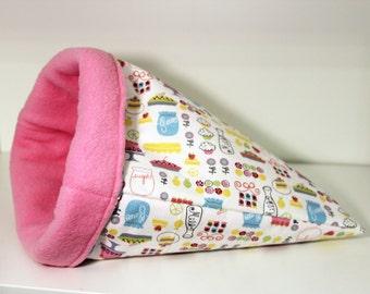 Guinea Pig Cuddle Cozy, Hedgehog Sleep Sack, Ferret Sleeping Bag, Rat Snuggle Cosy - Pies and Cakes with Pink Fleece