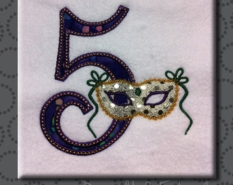 Mardis Gras Masquerade Number Set 1-9 Mask Machine Embroidery Design Digital Applique Pattern INSTANT DOWNLOAD Fat Tuesday NOLA Beads Font