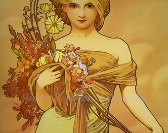 "Alphonse Mucha ""Woman Holding a Flower Bouquet"" 1920's Reproduction Digital Print Divine Art Nouveau Wall Decor"