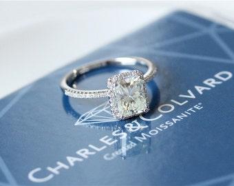 6x8mm Radiant Cut Moissanite Engagement Ring 14k White Gold Moissanite Ring/Unique Wedding Ring/Anniversary/Halo Diamond Moissanite Ring Set