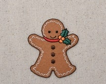 Christmas - Gingerbread Man with Holly - LARGE - Iron on Applique - Embroidered Patch - 1126224A