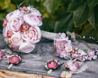 Wedding Flower Set Bridal Bouquet Flower Crown Grooms Boutonierre Wedding Accessories Flower Girl Bouquet Rustic Bouquet Groom's Buttonhole