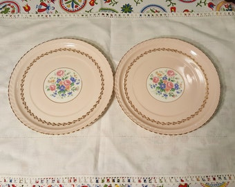 Vintage Pink Plates Pair by Steubenville for Herman C. Kupper, Monticello Plates, Antique Serving Plate, Rose Plate Shabby Chic