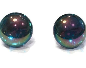 Stud Earrings - Rainbow Stud Earrings - - Bubble Stud Earrings - Silver Jewelry