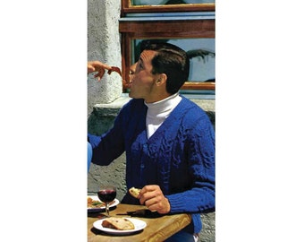 Men's 60s Retro Cardigan Sweater Knitting Pattern