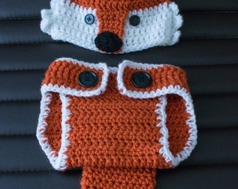 Fox Diaper Cover and Hat Set