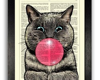 DECORATIVE ART, Bubblegum Cat, Wall Hanging, Cat Gift, OFFICE Art, Funny Cat Print, Cat Illustration, Dorm Wall Decor, Book Art, Cat Decor