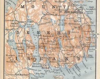 1909 Mount Desert Island Maine, featuring Bar Harbor, Antique Map
