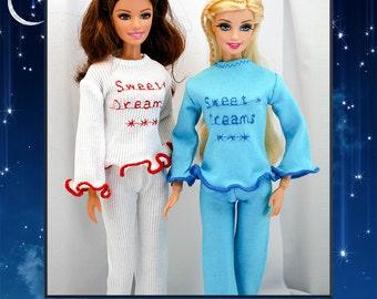 Barbie Pajamas Set - 2 Colors-Sweet Dreams-Handmade Barbie Clothes by Lovemade Creations- Fashion Dolls Sleepwear