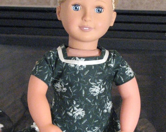 "Flowered Green Dress with white trim for 18"" Dolls. Made in USA fits American Girl, Our Generation Dolls"