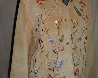 Leather Jessica Holbrook embrodred jacket size large