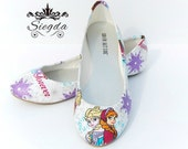 Frozen- Elsa and Anna Sisterhood - Choose Your Style- Wedding- Geek-Bride- Bridal Shoes- Prom-Graduation- Gift- Custom-Princess-queen