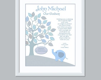 Gift For Godson - Godson Christening - Baby Personalized Boy - Baby Boy Name Art - Godson Gift - Personalized Godson Print -