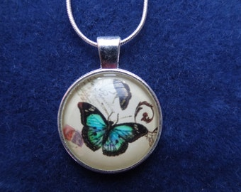 Butterfly Pendant 2.5 cm with 16 inch solid silver chain