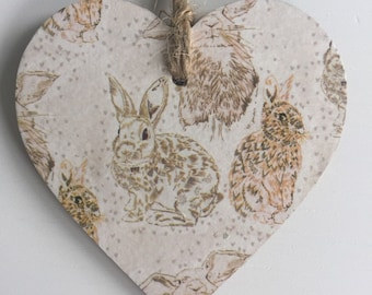 Bunny Rabbit Paper Covered Wooden Hanging Heart With Twine