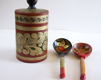 Khokhloma's spoon, wooden varnished spoon, tea box vintage Russian folk art lacquered wood vintage spoons and tea box