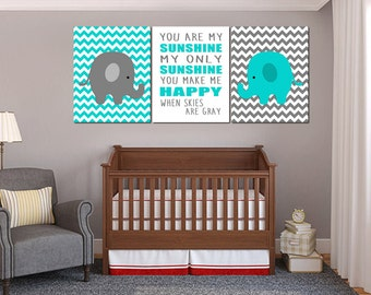 Elephant Nursery Gray and  Turquoise Wall Art, You are my sunshine Wall Art, Elephant Nursery Art, Printable Nursery Decor - 3 16x20