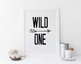 """PRINTABLE Art """"Wild One"""" Nursery Decor Typography Art Print Black and White Nursery Decor Tribal Arrow Arrow Art Print Home Decor"""