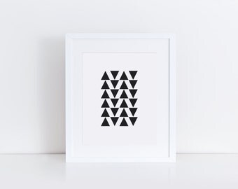 PRINTABLE Art Black and White Print Art Black Triangle Art Geometric Black Triangle Prints Black and White Wall Prints Black Triangles