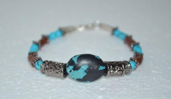 Bracelet Turquoise & Wood Bead, Wood Bead Bracelet, Turquoise Stone Bracelet, 1 of a Kind Bracelet, Beaded Bracelet