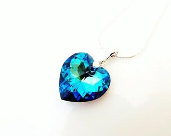 Swarovski Bermuda Blue Heart Crystal Pendant Necklace Bridal Necklace Wedding Jewelry Bridesmaid Gift Valentine's Day Something Blue (N058)