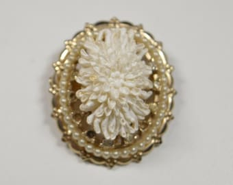 Vintage Coro White Flower Pin Brooch Faux Pearl Accented Victorian Design White Three Dimensinal Flower Pin Coro Brooch Coro Jewelry