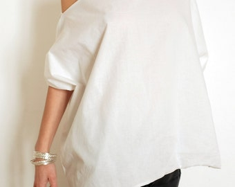 Asymmetrical Top - Off Shoulder Tunic - Plus Size Shirt - Oversize Top - White Maxi Shirt - XXL Clothing - Big Blouse - Cotton Tunic - White