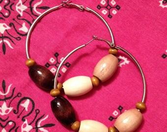 Vintage Wood Bead Hoop Earrings - Retro Natural Jewelry