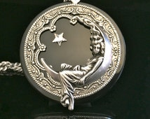Moon pendant, goddess necklace with star and black onyx gemstone, lunar goddess, moon goddess