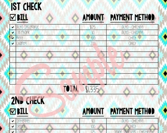 Bill Tracker Organized by Check