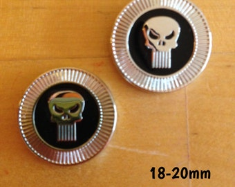 18mm-20mm Marvel Punisher plugs for stretched ears