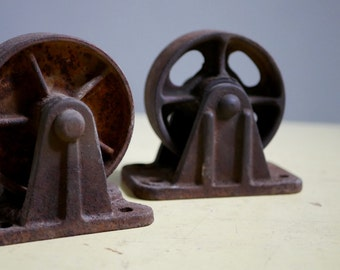 "2 Cast Iron Industrial Casters, 5 1/2"" in Height (each), Set of Two, Unmatched, Vintage Industrial Iron Casters"
