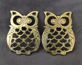 Vintage Owl Trivets, Set of 2 Brass Owl Trivets, Small Brass Owl Figurine Trivet, Brass Owl Coasters, Kitchen Design