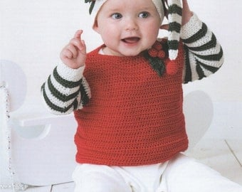 DMC (15411L/2) Festive Baby Jumper and Beanie Hat Crochet Pattern
