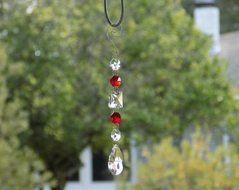 Red Rearview Mirror Car Charm, Crystal for Wedding Branches, Crystal Wedding Garland Strand, Crystal Suncatcher, Rainbow Maker